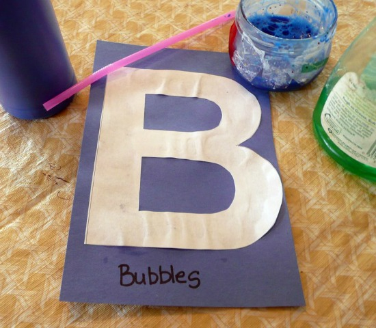 Bubble painting for Letter B activity