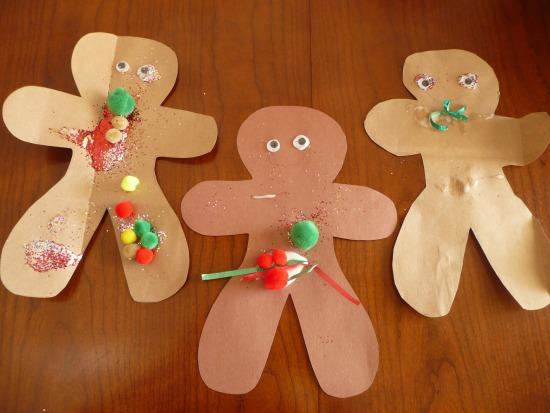 Gingerbread men preschool craft