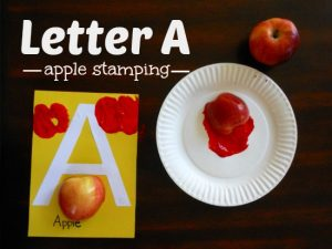 Letter A Activity: Apple Stamping