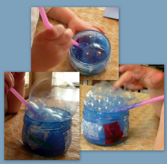 blue bubble painting for letter b activity