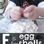 Letter E Activity: Gluing Eggshells