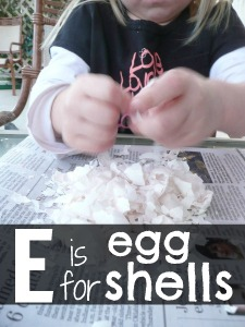 Letter E Activity: Gluing Eggshells