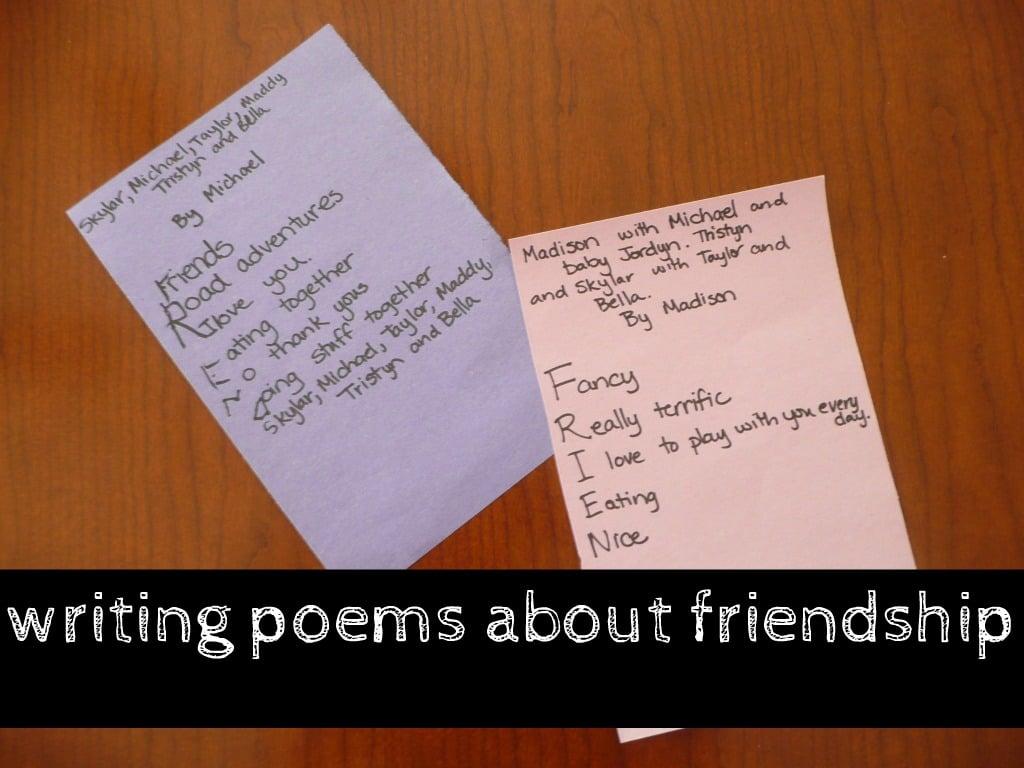 Writing a FRIENDSHIP poem