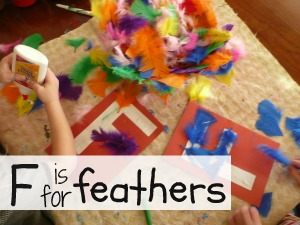 Letter F Activity: Gluing Feathers