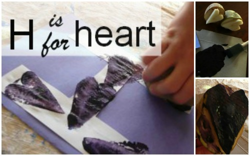 Letter H activity. Heart stamping with potatoes.