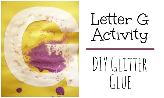 Make your own glitter glue for a Letter G activity