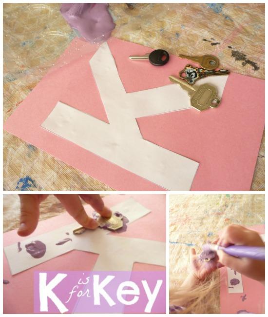 Letter K activity using keys