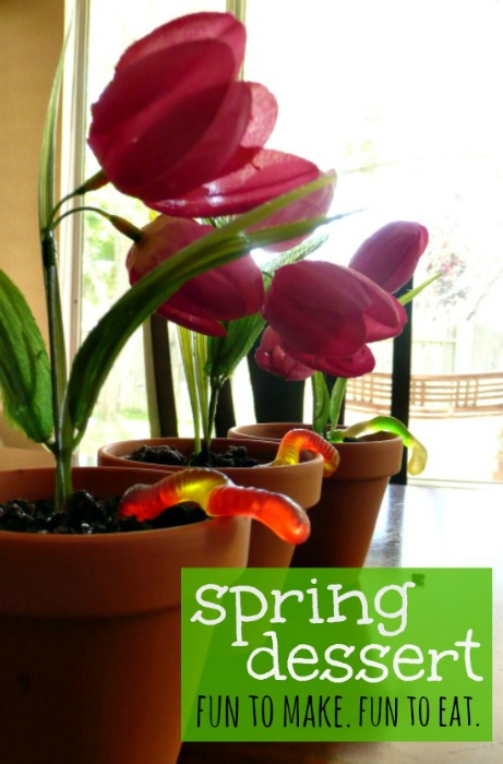 easy spring dessert for kids - flower pot pudding