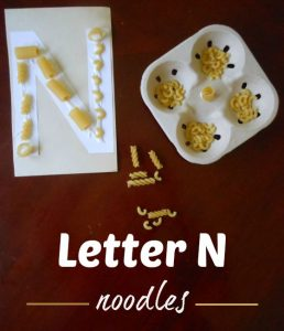 Letter N Activity: Gluing Noodles