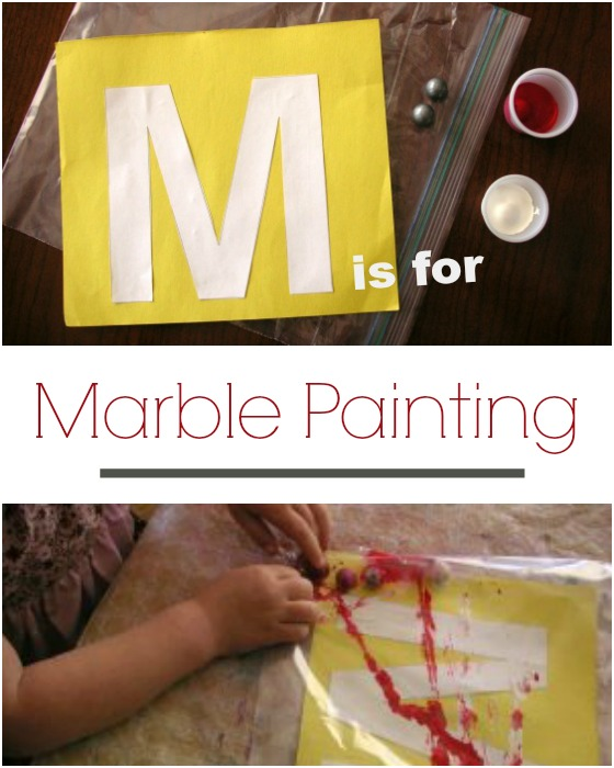 Letter M activity mess free marble painting