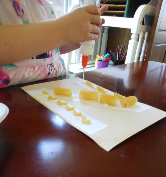 Letter N activity... gluing noodles