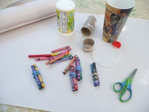 crayon bundles and tissue paper bows. . .MOTHER'S DAY wrapping
