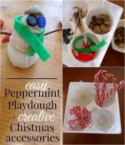 Easy Peppermint Playdough and Christmas Accessories