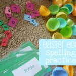 Easter Spelling Words with Plastic Eggs