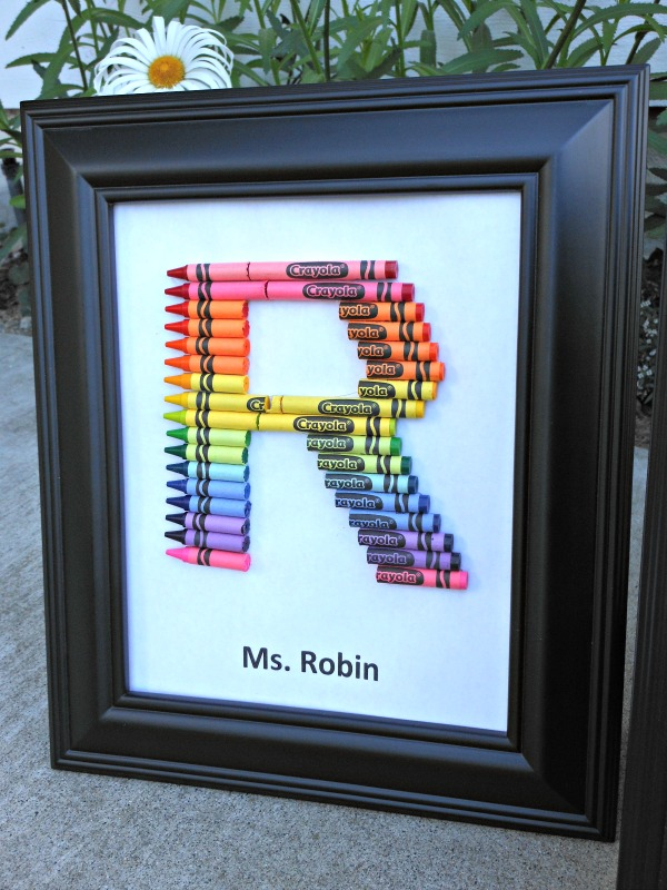 Homemade teacher gifts - How to make a crayon monogram