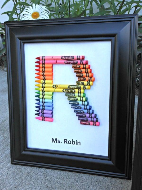 Homemade Teacher Gift How To Make A Crayon Monogram Confidence
