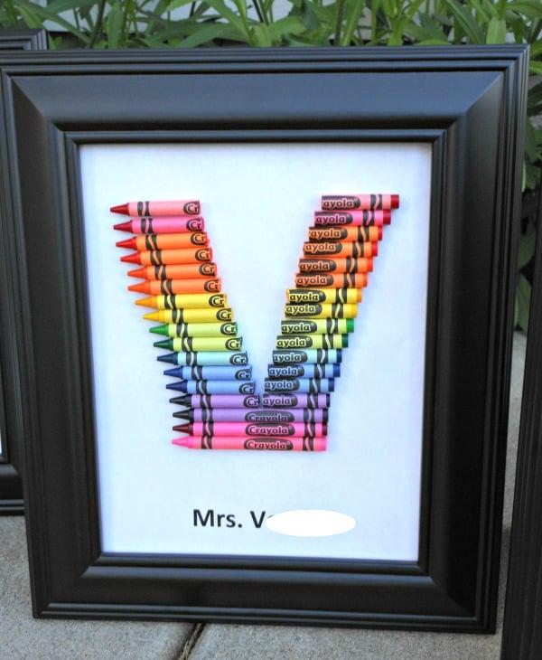 homemade teacher gift... how to make a crayon monogram ...