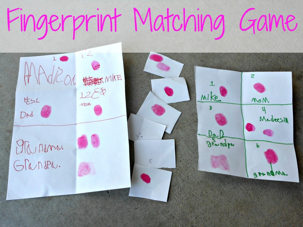 fingerprint matching game and a book review cmp. Black Bedroom Furniture Sets. Home Design Ideas