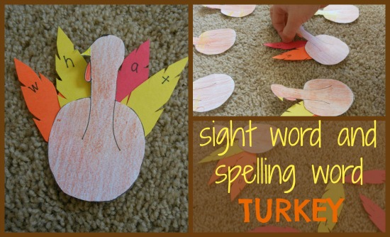 Turkey spelling activity for kids... perfect for Thanksgiving