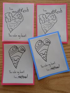 """You color my heart"" DIY Valentine Cards for Kids"