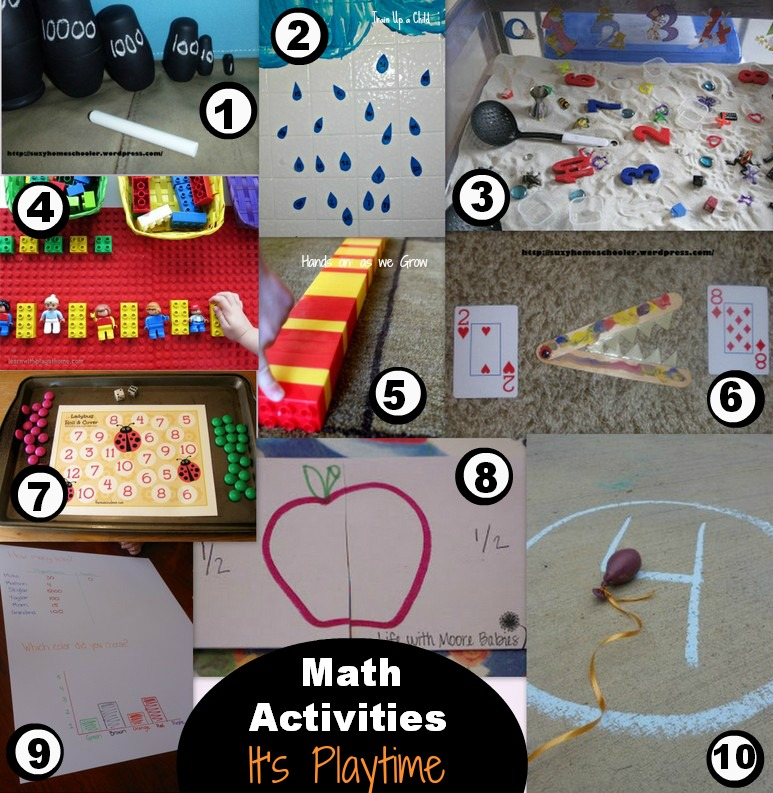 10 Math Activities and It's Playtime Linky!