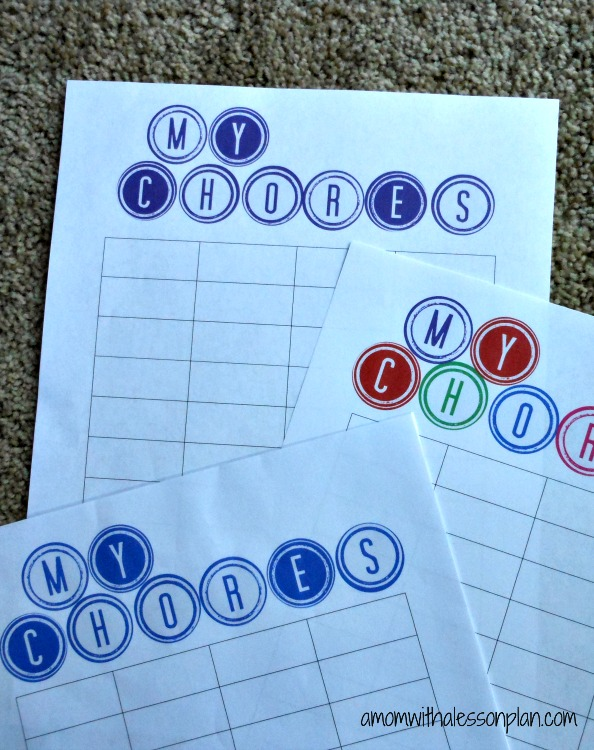 Printable Chore Charts and great ideas for dividing family duties and paid chores.