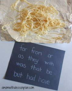 Sight Word and Spelling Word Spaghetti