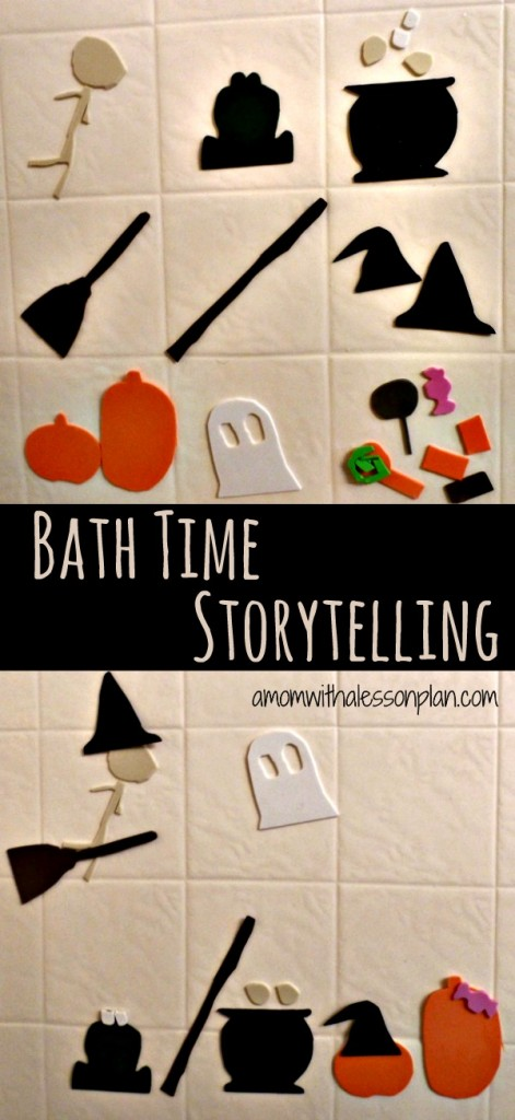 Halloween bath time storytelling - easy to prep... love that!