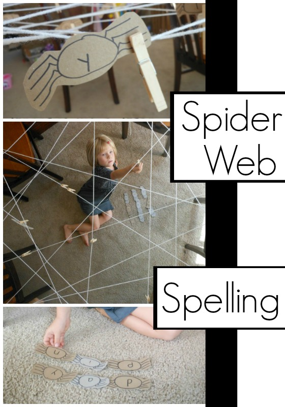 spider web spelling activity for kids. perfect halloween learning activity