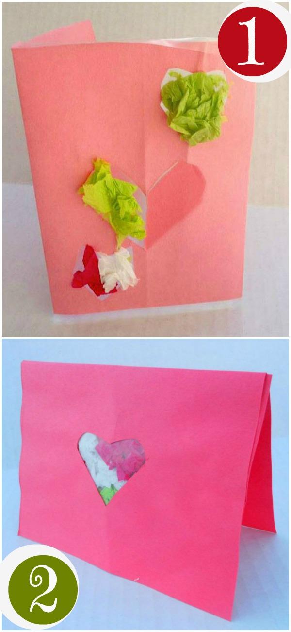 2 Tissue Paper Valentine Cards