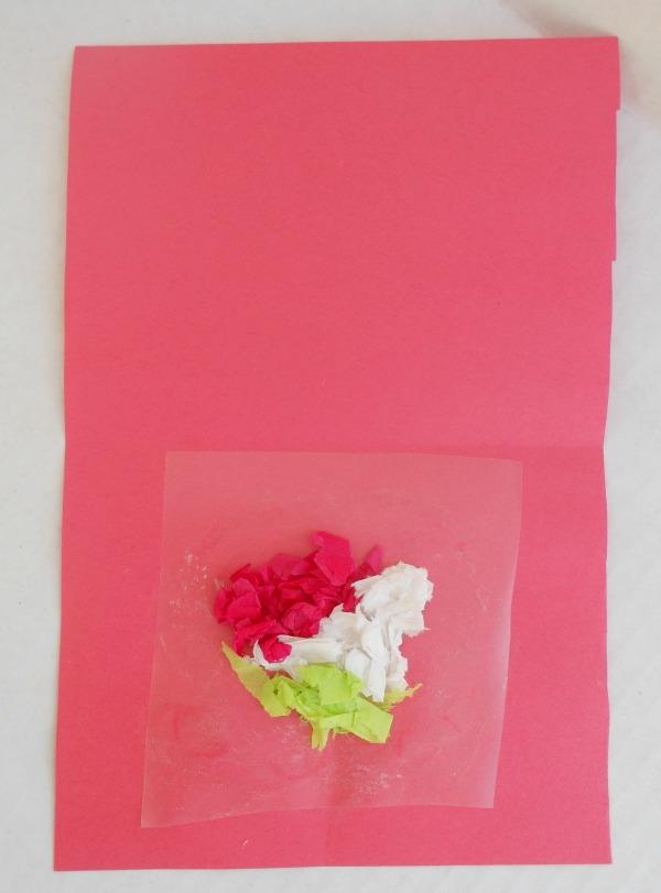 tissue paper valentines cards -- heart window