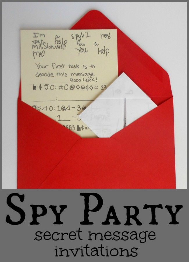 Secret Message Spy Party Invitations Includes Secret Code CMP