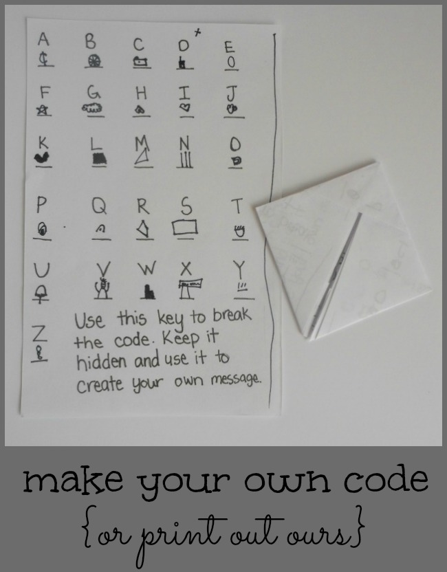 make your own secret code for a spy party inviation or print out ours