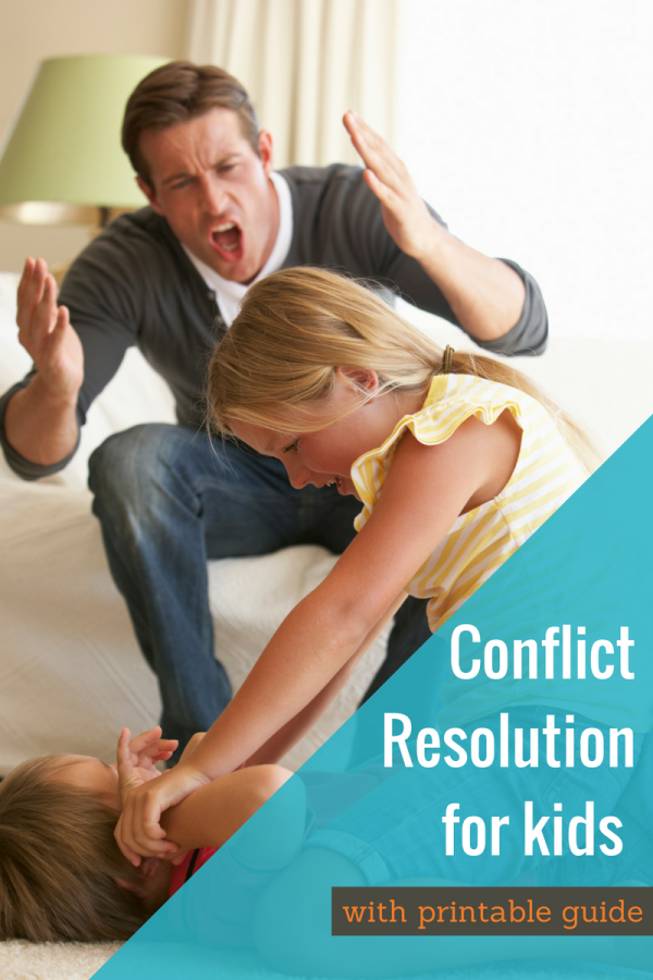 Step by step conflict resolution for kids - the printable guide is so helpful!
