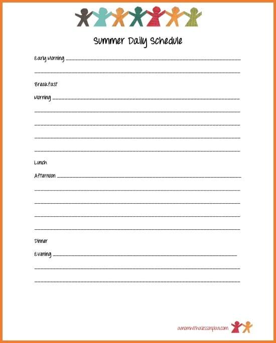 summer schedule for kids parents plus summer goal sheets fun - Fun Kids Sheets