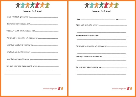 summer schedule for kids and summer goal sheet with free printables