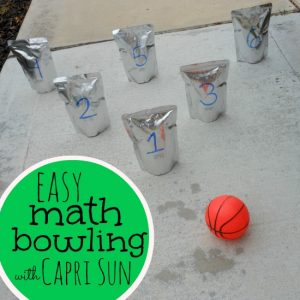 Easy Math Bowling with Capri Sun Pouches