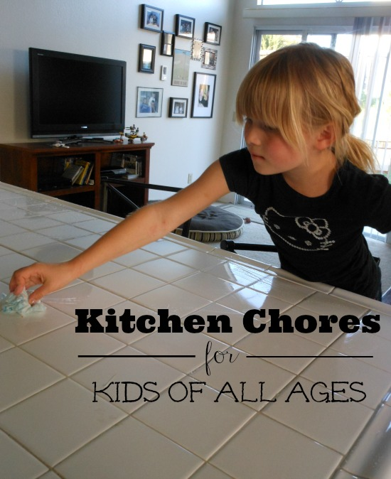 Kitchen chores for kids - chores listed by age. Love this list!