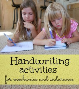 great list of handwriting activities for kids