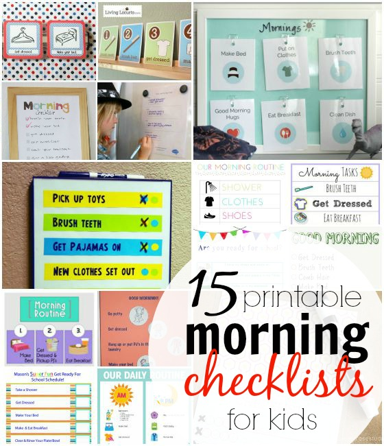 15 printable morning checklists for kids. #5 is adorable!