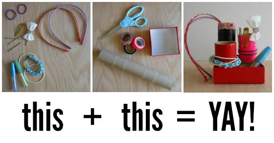 so easy!! paper towel rolls and pretty tape to organize my daughters STUFF!