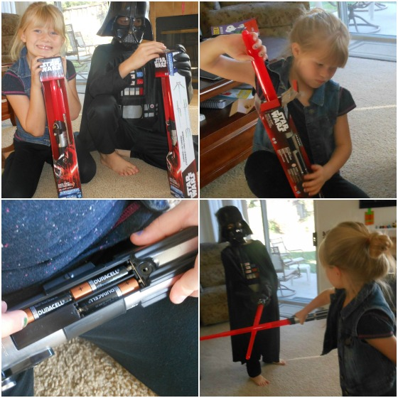 Such a cool idea! These Light Sabers are from a Blade Builders collection. Not only do they light up and make sounds they also connect to other light sabers!