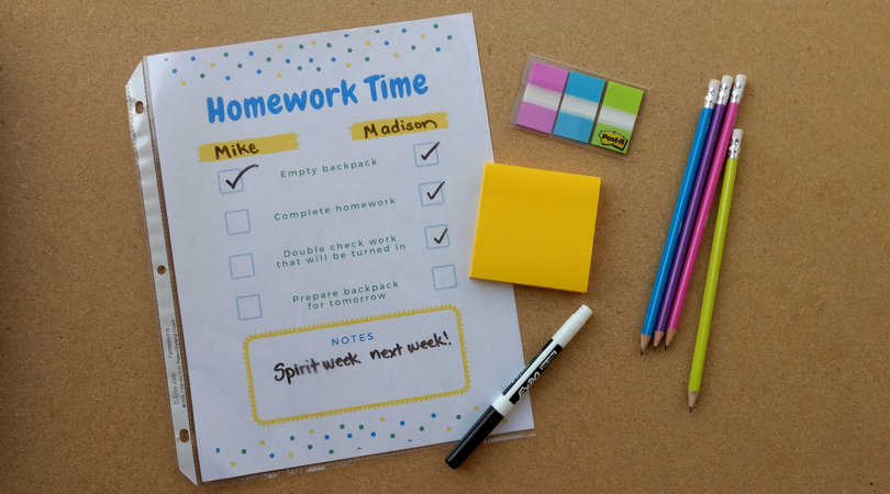 portable homework station with printable homework checklist